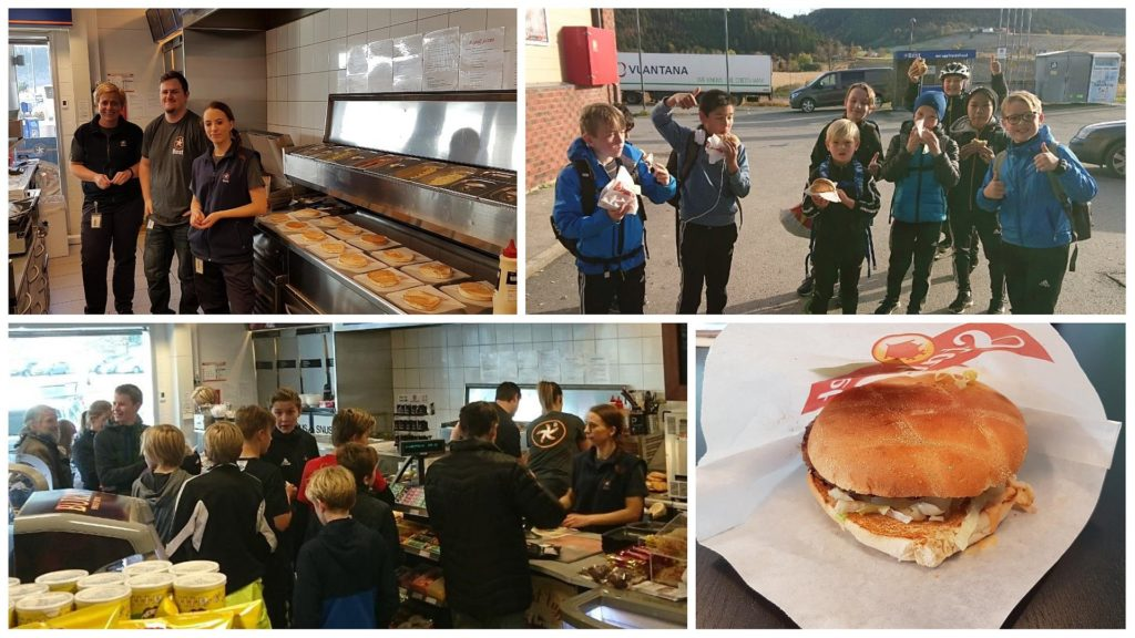 Utdelingen av gratis hamburger på Best Børsa falt i smak hos mange (Foto: privat)